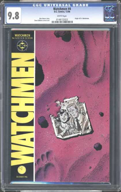 CGC Graded Comics - Watchmen #4 (CGC) - Watchmen Comic Book - Torn Picture Of Couple - Red Back Ground - Woman And Man In Picture - Dc Comic