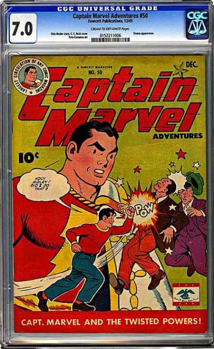 CGC Graded Comics - Captain Marvel Adventures #50 (CGC) - Twisted Powers - Number 50 - Criminals - Fawcett - December