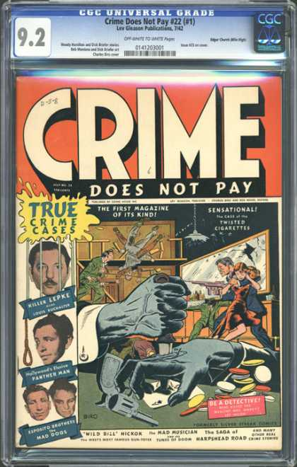 CGC Graded Comics - Crime Does Not Pay #22 (#1) (CGC) - Cgc Hologram - Chips - Cards - Gun - Hostage