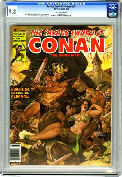 CGC Graded Comics - Savage Sword of Conan #50 (CGC) - Sword - Conan - Castle - Woman - Barbarian