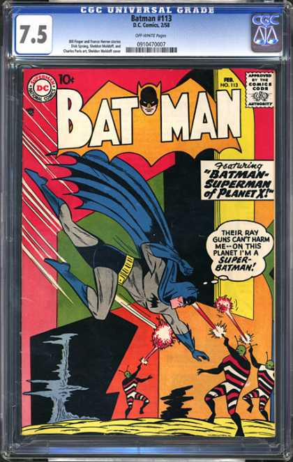CGC Graded Comics - Batman #113 (CGC) - Batman - Aliens - Rayguns - Superman - Planet X