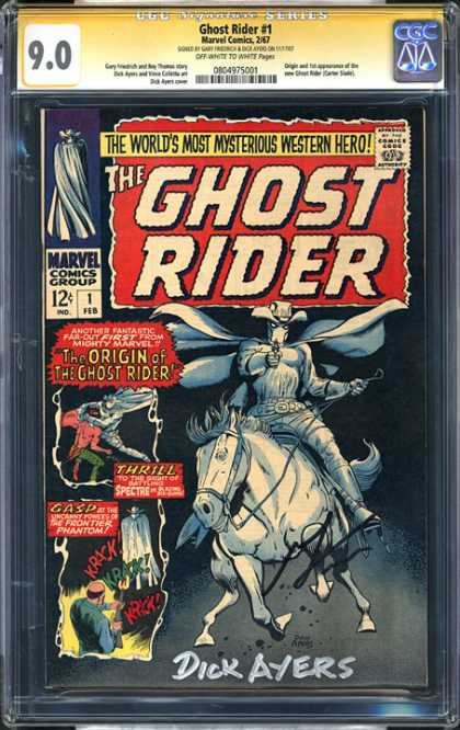CGC Graded Comics - Ghost Rider #1 (CGC) - The Ghost Rider - Marvel - The Origin Of The Ghost Rider - Dick Ayers - Horse