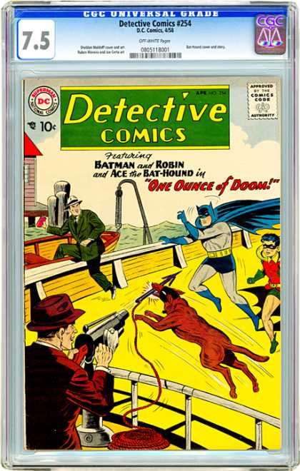 CGC Graded Comics - Detective Comics #254 (CGC) - Detective Comics - Batman - Gun - Dog - Superhero
