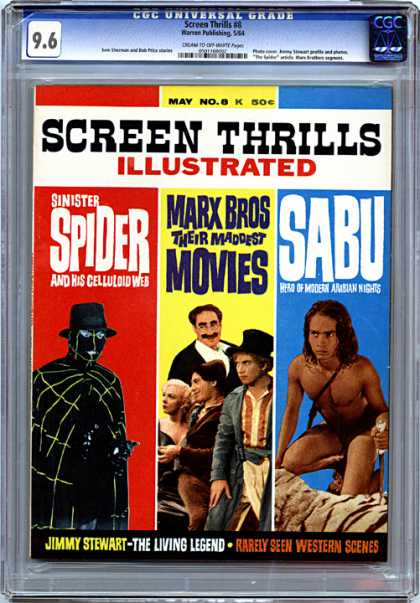 CGC Graded Comics - Screen Thrills #8 (CGC) - Sinister Spider - Marx Bros Their Maddest Movies - Sabu - Jimmy Stewart - Rarely Seen Western Scenes