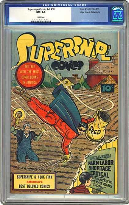CGC Graded Comics - Supersnipe Comics #v2 #10 (CGC) - Supersnipe - Huck Finn - Farm - Seeds - Labor Shortage