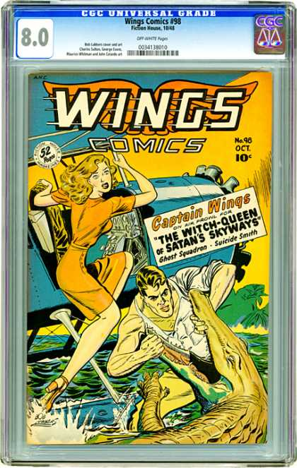 CGC Graded Comics - Wings Comics #98 (CGC) - Wings Comics - Woman - Man - Airplane - Crocodile