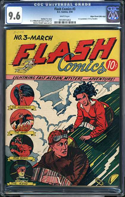 CGC Graded Comics - Flash Comics #3 (CGC) - Lightning Fast Action - Rod Rian - The King - The Whip - The Hawkman