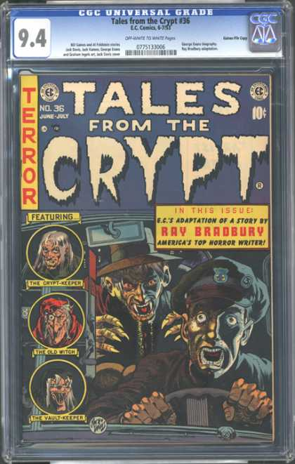 CGC Graded Comics - Tales from the Crypt #36 (CGC) - Hell Night - Vampires Strike Again - Witches Tale - Midnight Zombies - Last Taxi Ride Alive