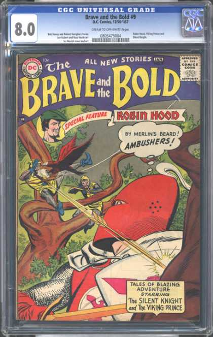 CGC Graded Comics - Brave and the Bold #9 (CGC) - The Brave And The Bold - The Silent Knight - The Viking Prince - Robin Hood - Red Helmet