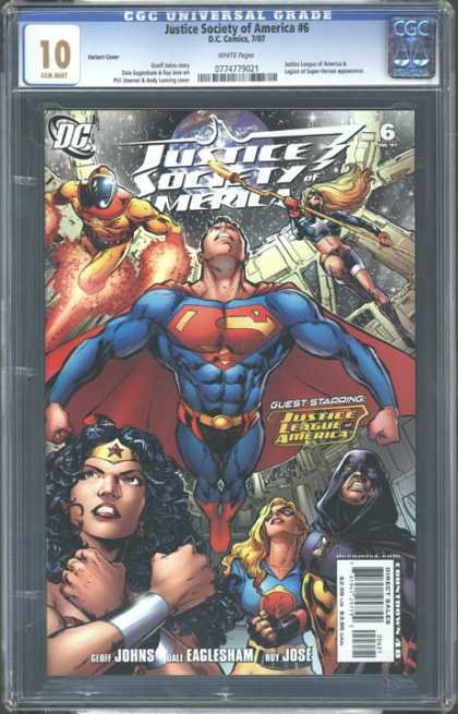 CGC Graded Comics - Justice Society of America #6 (CGC) - Justice League - Wonder Woman - Superman - Space - Dc Comics
