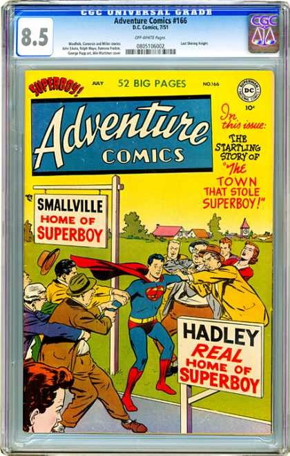CGC Graded Comics - Adventure Comics #166 (CGC) - Adventure Comics 166 - Home Of Superboy - Smallville - Hadley - The Town That Stole Superboy