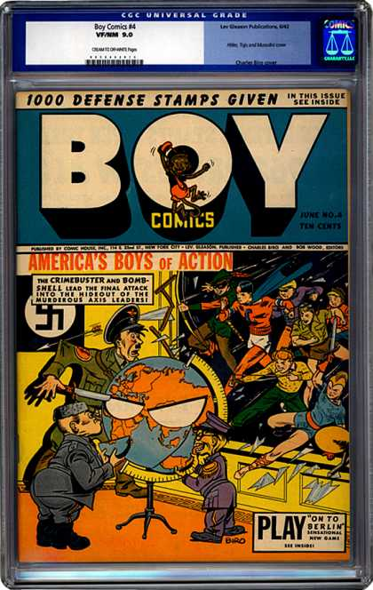 CGC Graded Comics - Boy Comics #4 (CGC) - Crimebuster - Defense Stamps - Issue - On To Berlin - Attack