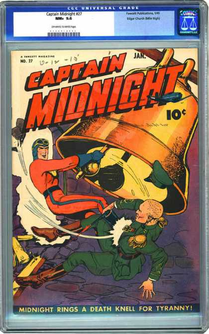 CGC Graded Comics - Captain Midnight #27 (CGC) - Cgc Universal Grade - Big Bell - Midnight Rings A Death Knell For Tyranny - Fighting - Soldier