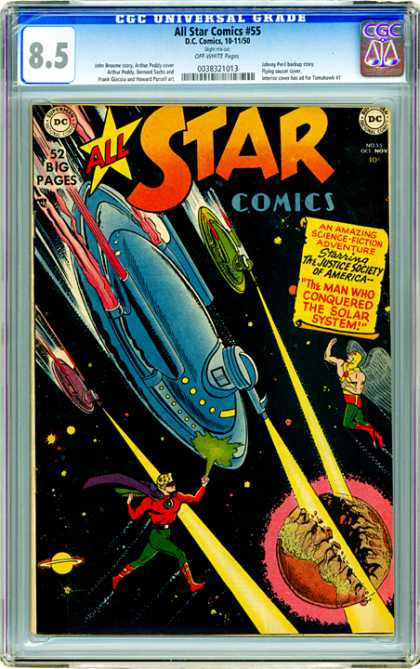 CGC Graded Comics - All Star Comics #55 (CGC) - Science Fiction - Adventure - 52 Big Pages - Flying Saucer - Laser Guns