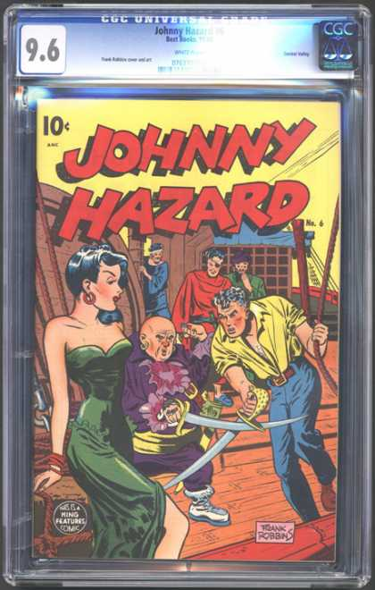 CGC Graded Comics - Johnny Hazard #6 (CGC) - Fight Man - Super Women - Boat - Johnny Hazard - Terriest