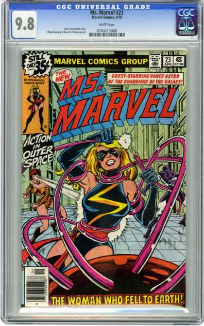 CGC Graded Comics - Ms. Marvel #23 (CGC) - Msmarvel - Superwoman - Action In Outer Space - The Woman Who Fell To Earth - Comics Code