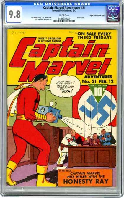 CGC Graded Comics - Captain Marvel Adventures #21 (CGC) - Hitler - Nazis - Honesty Ray - Captain Marvel - Germany