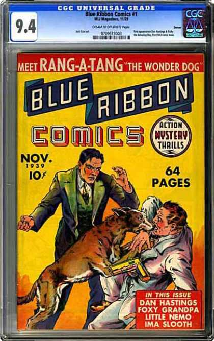 CGC Graded Comics - Blue Ribbon Comics #1 (CGC) - Blue Ribbon Comics - Rang-a-tang - The Wonder Dog - Dog Attacking Man - Gun
