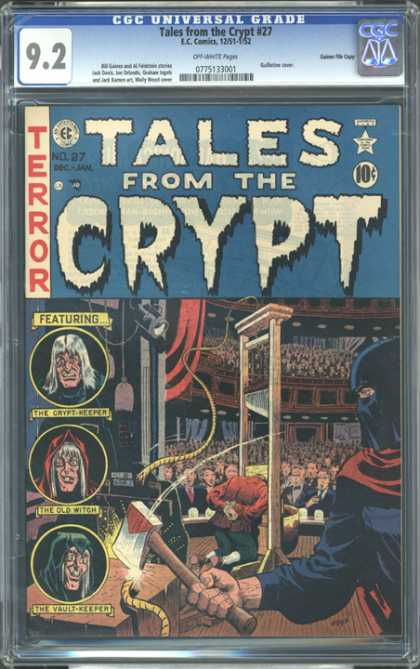 CGC Graded Comics - Tales from the Crypt #27 (CGC) - Terror - The Crypt-keeper - Guillotine - Audience Witness A Man Beheaded - The Old Witch