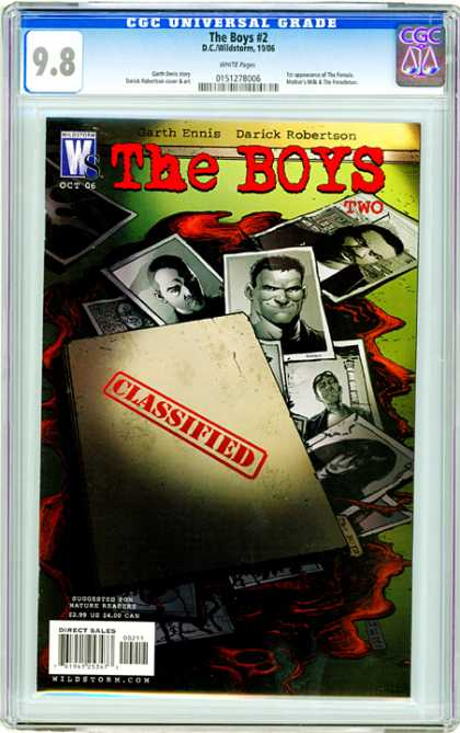CGC Graded Comics - The Boys #2 (CGC) - Folder - Confidential Information - Dossier - Pool Of Blood - A Bunch Of Boys And One Girl