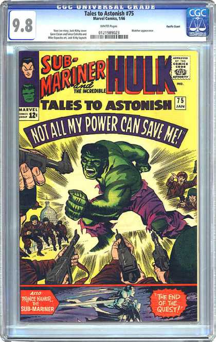 CGC Graded Comics - Tales to Astonish #75 (CGC) - Sub-mariner And The Incredible Hulk - Tales To Astonish No75 - Washinton - Guns - Soldiers