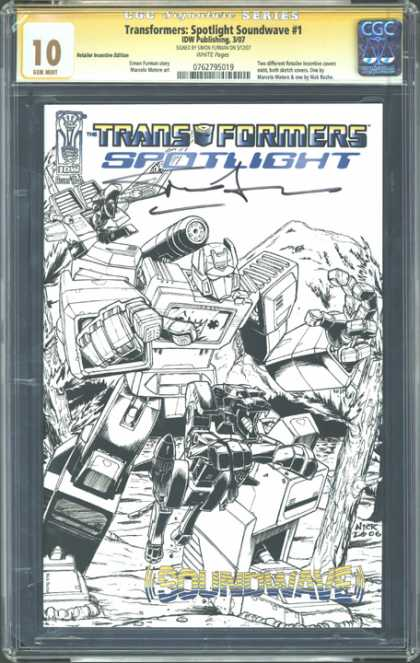 CGC Graded Comics - Transformers: Spotlight Soundwave #1 (CGC) - Transformers Spotlight - Soundwave - Optimus Prime - Line Drawing - Signed