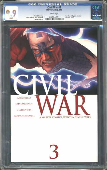 CGC Graded Comics - Civil War #3 (CGC) - Men With Power - Real War - Thrilling War - Angry Man - Power Hero