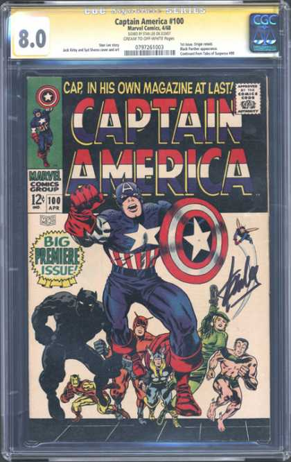 CGC Graded Comics - Captain America #100 (CGC) - Captain America - Marvel Comics - Approved By The Comics Code Authority - Big Premiere Issue - Capin His Own Magazine At Last