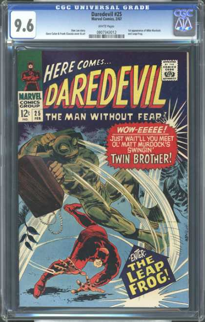 CGC Graded Comics - Daredevil #25 (CGC) - Cgc Hologram - Dare Devil - Frog Man - Green Outfit - Marvel