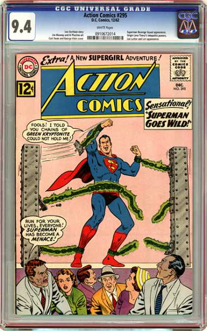 CGC Graded Comics - Action Comics #295 (CGC) - Yellow Hat - Towers - Cyptonite - Tugging - Yellow Suit