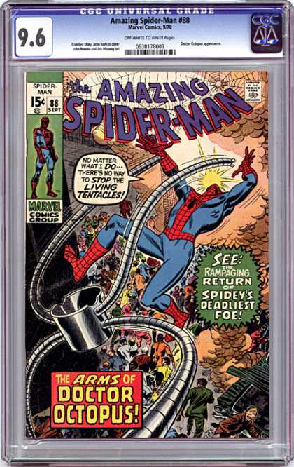 CGC Graded Comics - Amazing Spider-Man #88 (CGC) - September - Marvel - 15 Cents - Living Tentacles - Spiderweb