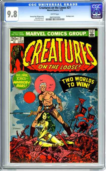 CGC Graded Comics - Creatures on the Loose #21 (CGC) - Creatures On The Loose - Gullivar Jones - Warrior Of Mars - Two Worlds To Win - January Issue