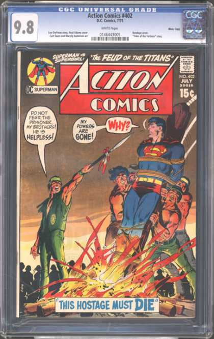 CGC Graded Comics - Action Comics #402 (CGC) - Superman - Powers Are Gone - The Hostage Must Die - The Feud Of The Titans - Supergirl
