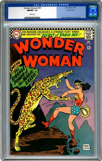 CGC Graded Comics - Wonder Woman #167 (CGC) - Dc Comic - Wonder Woman - Magic Lasso - Mountain - Wild Animal