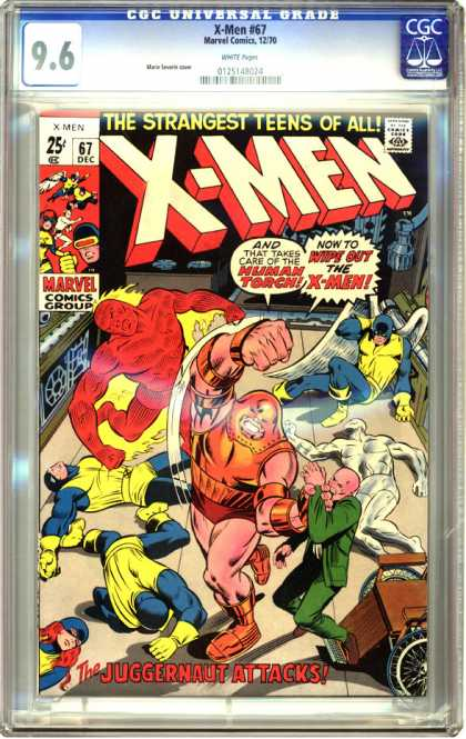 CGC Graded Comics - X-Men #67 (CGC) - X-men - Human Torch - Marvel - Silver Surfer - Hawk Man
