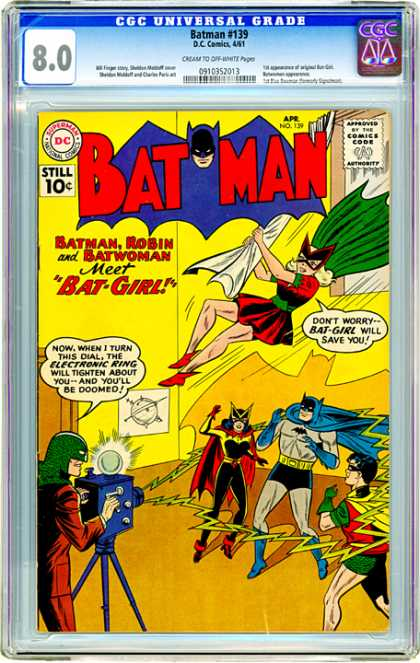 CGC Graded Comics - Batman #139 (CGC) - Flying Girl - Batman - Camera - Action - Lightning