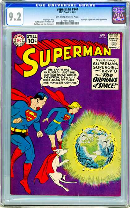 CGC Graded Comics - Superman #144 (CGC) - Superman - Approved By The Comics Code - Superman National Comics - Planet - Dog