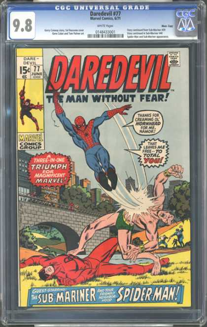 CGC Graded Comics - Daredevil #77 (CGC) - Spider-man - Hornhead - Sub-mariner - Three-on-one - Bad Spider-man