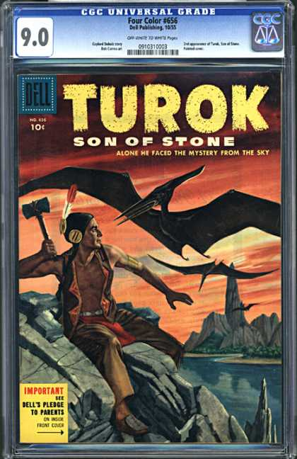 CGC Graded Comics - Four Color #656 (CGC) - Turok - Son Of Stone - Mystery From The Sky - Indian - Dinosaur