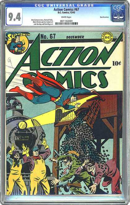 CGC Graded Comics - Action Comics #67 (CGC) - Superman - Coal - Train - Engineer - Chute