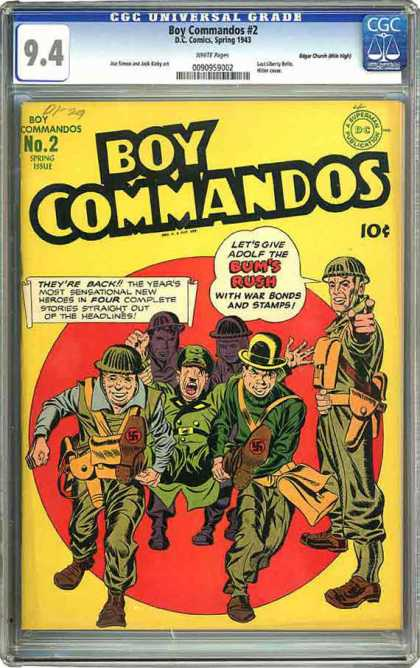 CGC Graded Comics - Boy Commandos #2 (CGC) - Boy Commandos - Dccomics - Bums Rush - Cap - Gun