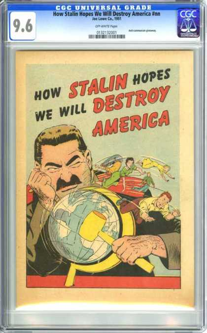 CGC Graded Comics - How Stalin Hopes We Will Destroy America #nn (CGC) - Stalin - Hammer - Yellow - Globehand On Face