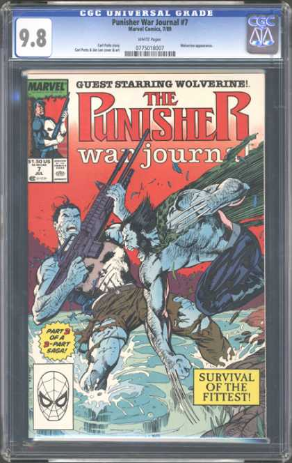 CGC Graded Comics - Punisher War Journal #7 (CGC) - War Journal - Punisher - Machine Gun - Survival Of The Fittest - Wolverine
