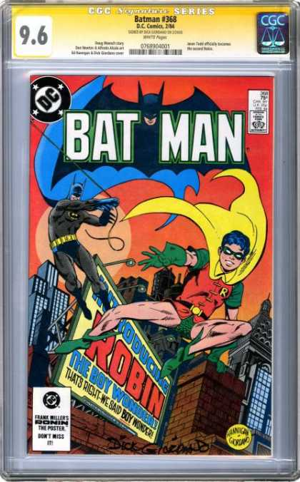 CGC Graded Comics - Batman #368 (CGC) - Robin - Boy Wonder - Yellow Cape - Roof - Masked