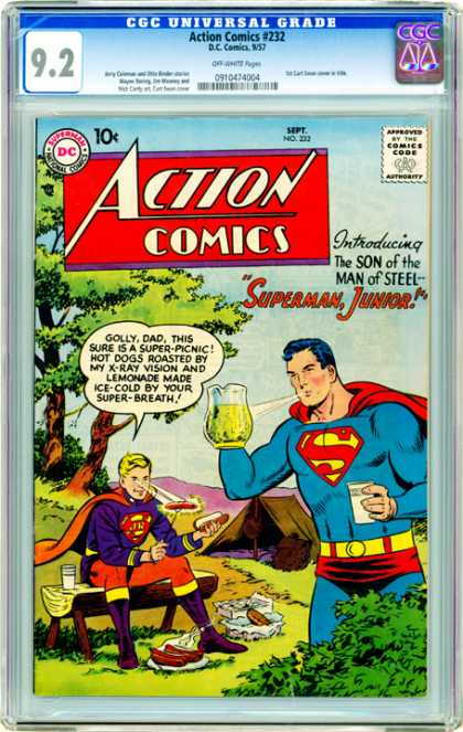 CGC Graded Comics - Action Comics #232 (CGC) - Action Comics - Superman - Superman Jr - Picnic - Camping