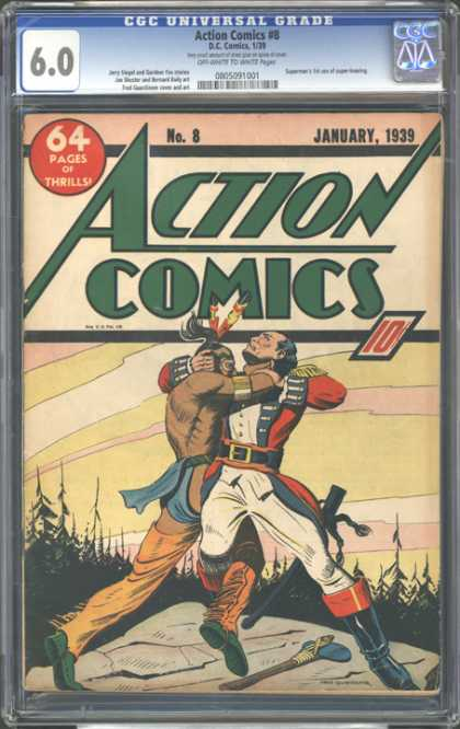 CGC Graded Comics - Action Comics #8 (CGC) - Its An Action Comics - Two Person Are Fighting Each Other - One Is A British Person - Another One Is A Village Person - British Person Having Nife And Village Person Having Stone Hammer