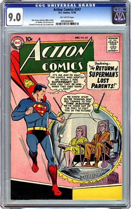 CGC Graded Comics - Action Comics #247 (CGC) - Supermans Story - Search For Parents - Who Behind Superman - Who Gave Birth To The Saviour - Supermans Childhood