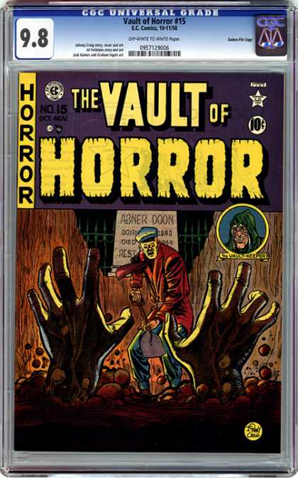 CGC Graded Comics - Vault of Horror #15 (CGC) - Abner Doon - Vault Keeper - Hands - Shovel - Horror