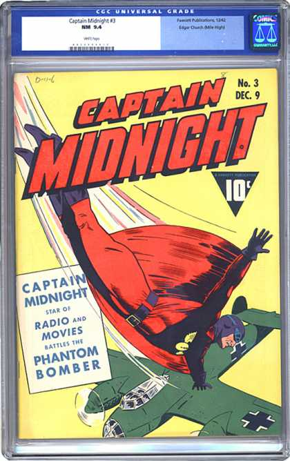 CGC Graded Comics - Captain Midnight #3 (CGC) - Star - Radio - Movies - Phantom Bomber - Airplane