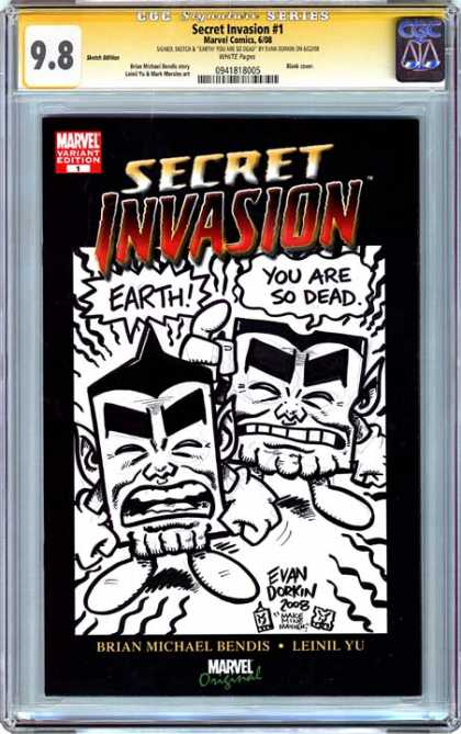 CGC Graded Comics - Secret Invasion #1 (CGC) - Earth - You Are So Dead - Evan Dorkin - Brian Michael Bendis - Black And White